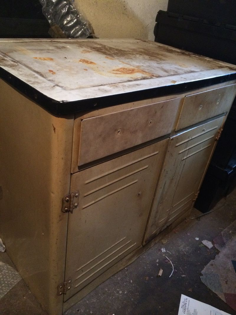 Original 1950s metal kitchen unit