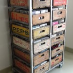 Vintage upcycled soda crate storage unit