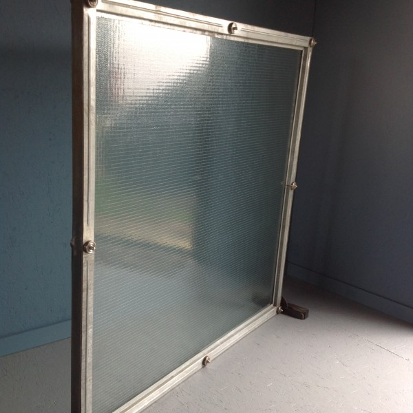 Industrial steel and glass desk screen