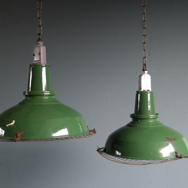 Green Enamelled Industrial Pendant Lights With Grill