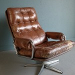 Vintage retro leather swivel chair