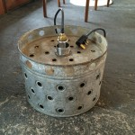 Metal farm drum lampshade