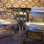 Retro glass dining table and chairs