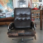 Vintage brown leather swivel chair