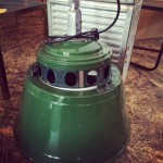 Large green enamel vintage industrial lamps
